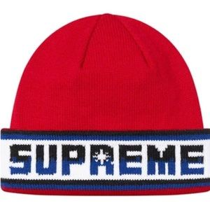 NWT Supreme Facemask / Beanie Knit Red double logo
